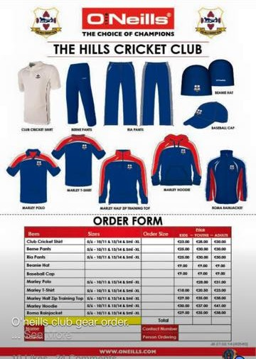 Order Form Clothing